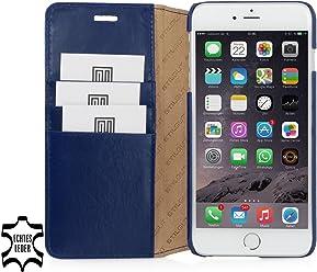 StilGut Talis avec fonction de support, housse portefeuille fine en cuir pour iPhone 6s (4.7 pouces), bleu nuit
