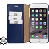 StilGut Talis without Clip, Genuine Leather Wallet Case for Apple iPhone 6 & iPhone 6s (4.7''), Blue