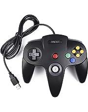 iNNEXT Rétro Contrôleur pour N64 Console,N64 Classique USB Contrôleur Gamepad Joystick, Contrôleur de Jeu pour 64 N64 Système Raspberry Pi/Windows/Mac/Linux,Noir