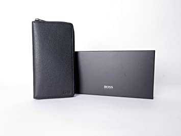 Hugo Boss Egidinior Black Leather Travel Documents Wallet Organizer