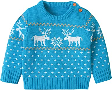 Baby Boys Christmas REINDEER BLUE Knitted Jumper Trousers 2 Piece Outfit Set