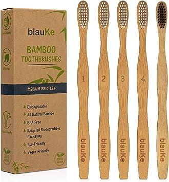 5 Cepillos de Dientes de Bambú Dureza Media: 4 Cepillos de Bambu ...