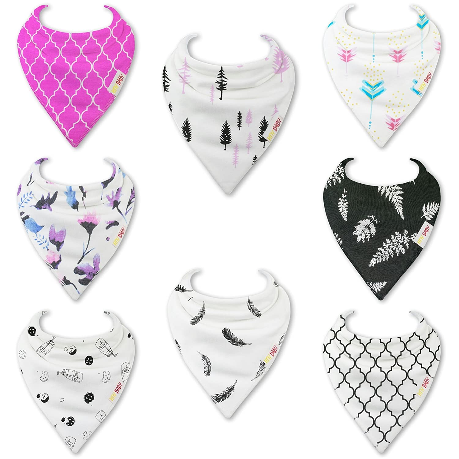 HnyBaby Baby Bandana Drool Bibs for Boys and Girls 8 Pack'Oreo and Blossom' Organic Cotton with Adjustable Snaps, Drooling and Teething Bib Unisex Gift Set