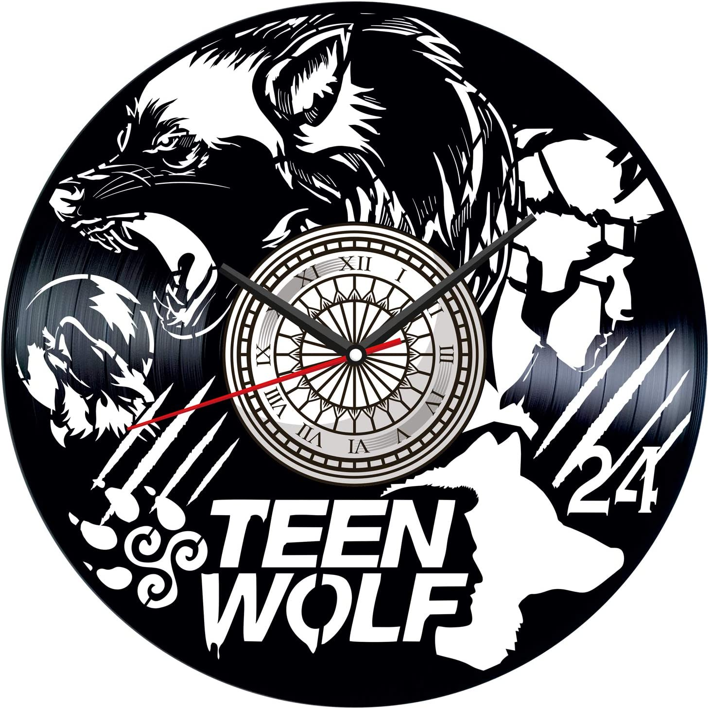 Teen Wolf Vinyl Record Wall Clock Poster - Vintage Home Decor Kitchen Bedroom Living Room Office - Unique Handmade Gift for Men Woman Friends Boys - 12 inches