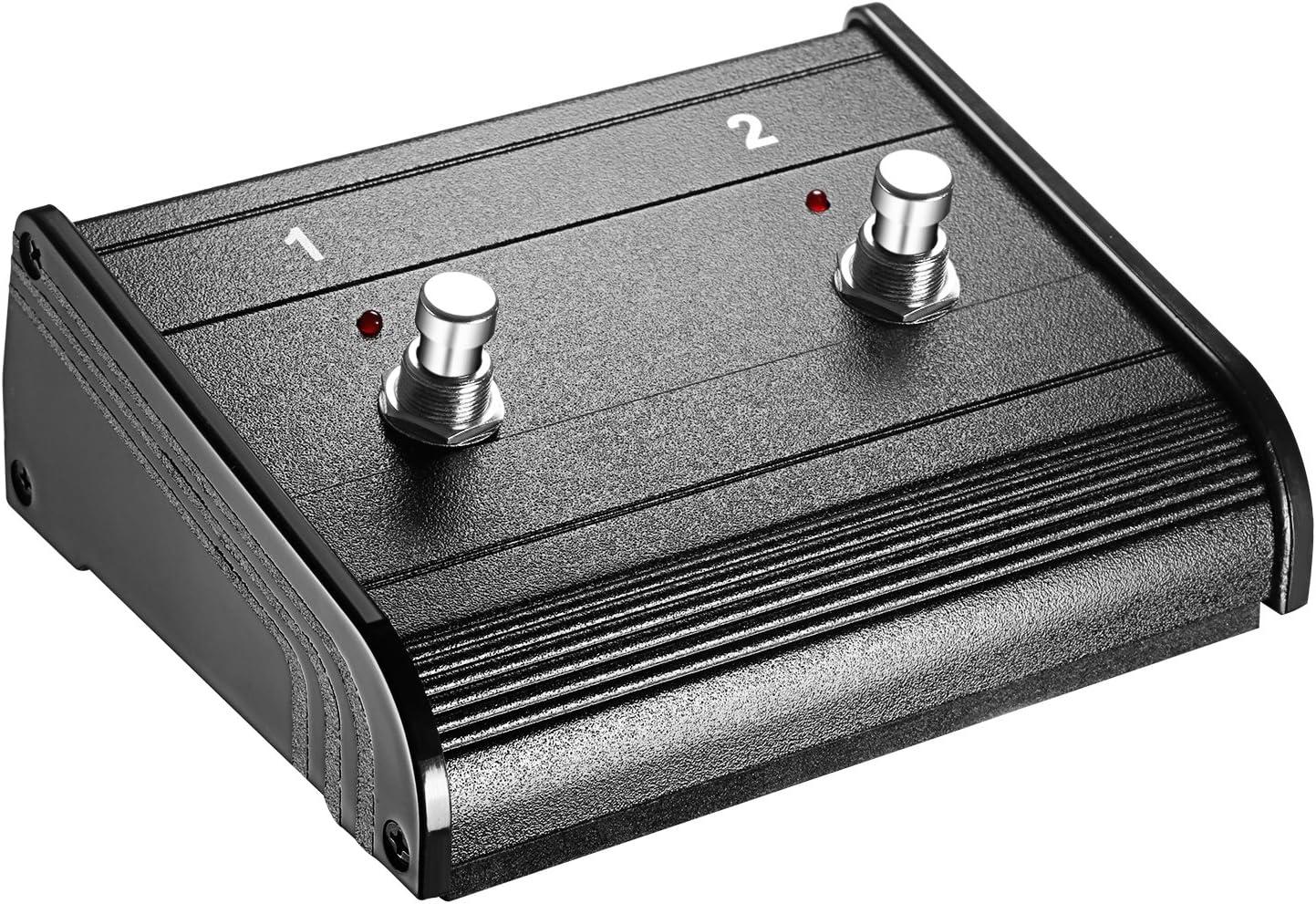 Neewer Interruptor de Pedal de 2 Botones de Doble Canal con Cable de Jack de 1/4 Pulgada para Amplificadores de Guitarra Bajo y Teclado con Capacidad de Conmutación on/off (NW-202)