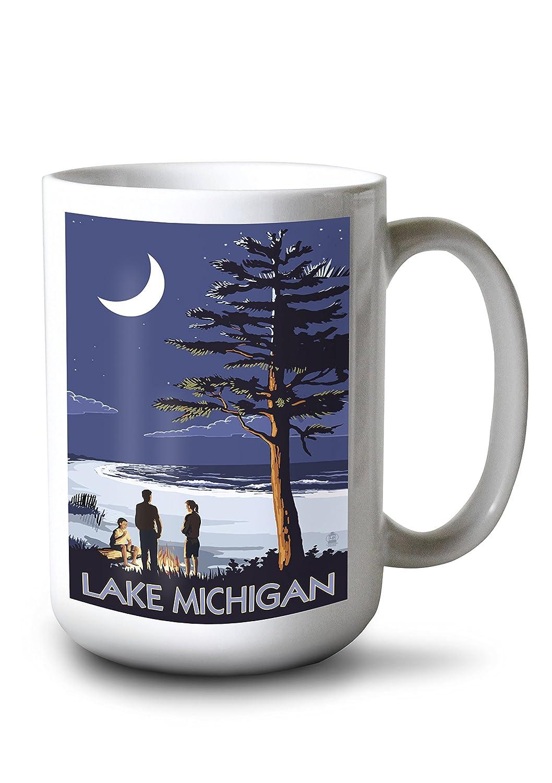 優れた品質 (12 x 18 Metal Sign) Ready - Lake Mug Michigan - Mug Bonfire at Night Scene (12x18 Aluminium Wall Sign, Wall Decor Ready to Hang) B077RQDRP2 15oz Mug 15oz Mug, GLASS-M:26dac28f --- 4x4.lt