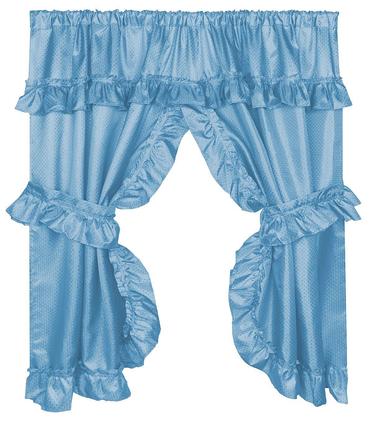 Diamond Dot Ruffled Fabric Bathroom Window Curtain With Attached Valance and Tiebacks - Light Blue