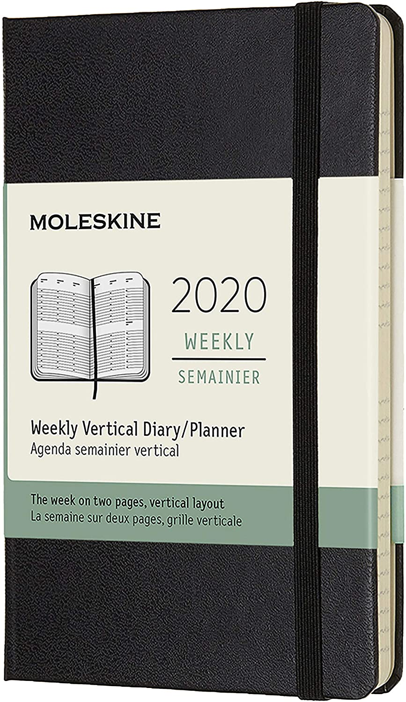 Moleskine Wochenkalender Taschenkalender Vertikal Pocket A6 Hard Cover 12 Monate 2020 Schwarz