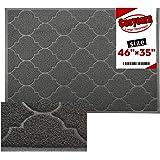 Large Door Mats,46x35 Inches XL Jumbo Size Outdoor Indoor Entrance Doormat, Waterproof, Easy Clean, Entryway Rug,Front Doormat Inside Outside Non Slip (Grey)