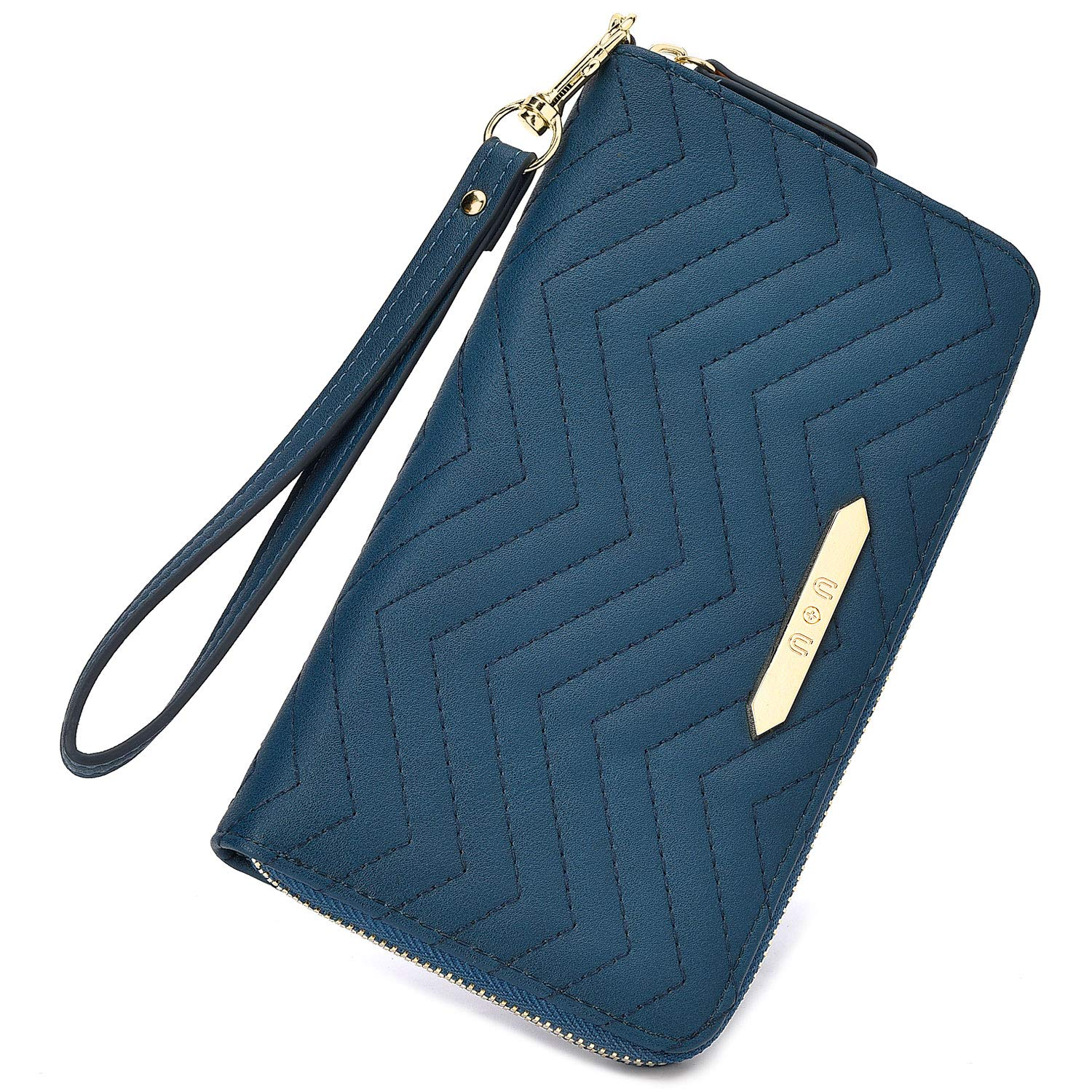 Wristlet Wallet Clutch for Women, U+U Credit Cards Holder Soft PU Leather Zip Around Purse with 15 Card Slots, bluee