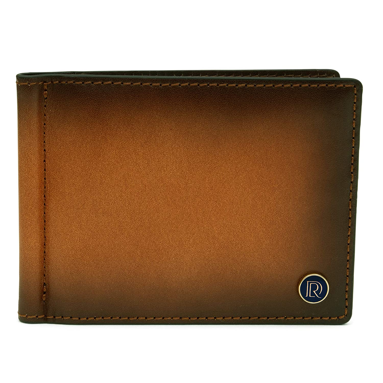 Sleek Mens Bifold Wallet Classic Style Bifolds Brown Cognac with Money Clip Stylish Slim Front Pocket Wallet for Men with Card and Cash Holder Full Grain Leather