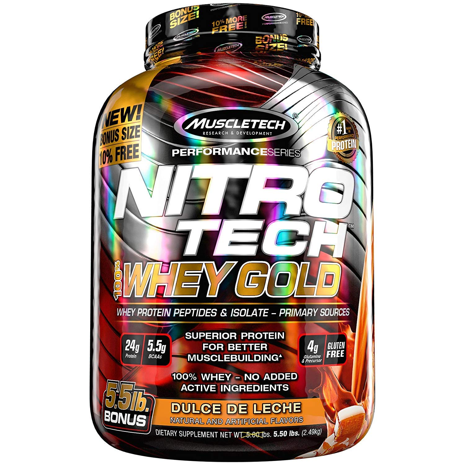 Amazon.com: MuscleTech NitroTech Whey Gold, 100% Whey Protein Powder, Whey Isolate and Whey Peptides, New York Berry Cheesecake, 5.5 Pound: Health ...
