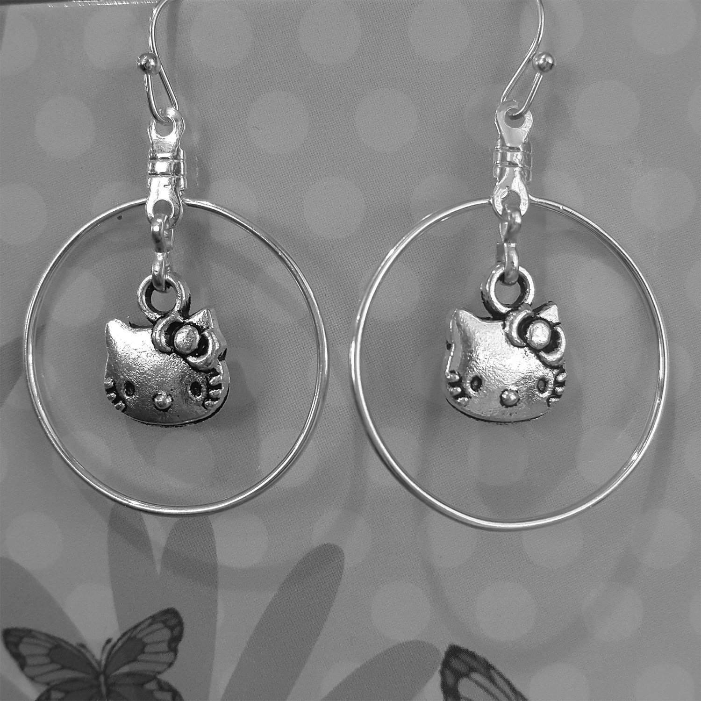 2 styles available Mossy Cabin Hello Kitty drop earrings in Tibetan Silver