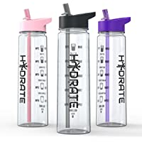 HYDRATE Motivational 900ml Straw Water Bottle – with Time Markings, BPA-Free