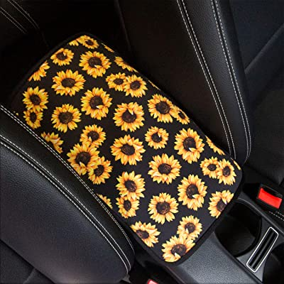 YR Vehicle Center Console Armrest Cover Pad, Universal Fit Soft Comfort Center Console Armrest Cushion for Car, Stylish Pattern Design Car Armrest Cover, Sunflower: Automotive