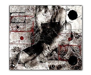 80x90cm Wait rot weiß schwarz grau abstrakt Kunstdruck von Paul ...