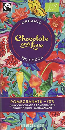 Chocolate Love Pomegranate Dark 70 Chocolate Almond 80gpack Of 14