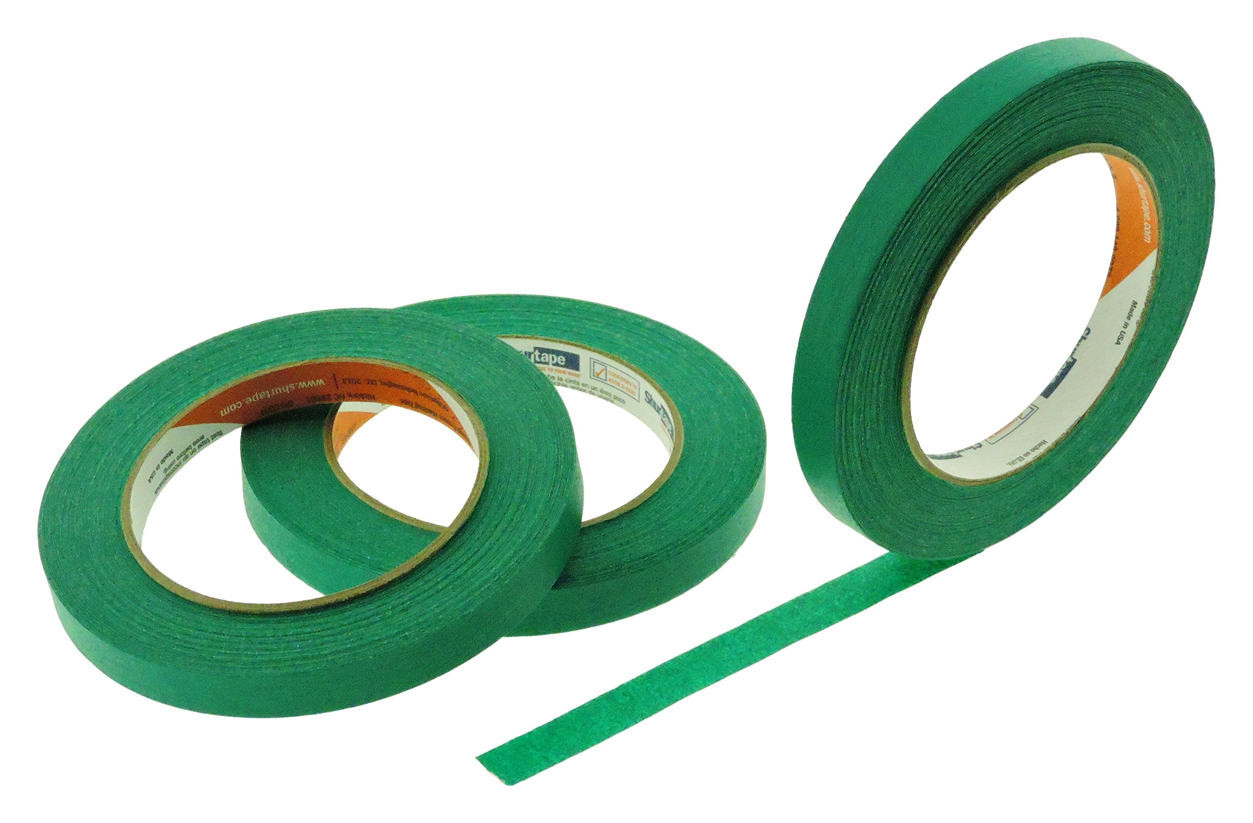 3pk 1/2'' in x 60yd Dark Green Masking Tape Extra Sticky PRO Grade High Stick Special Project Painters Tape Painting Trim Arts Crafts School Home Office 21 Days 12MM x 55M .5 inch Forest Sage Evergreen