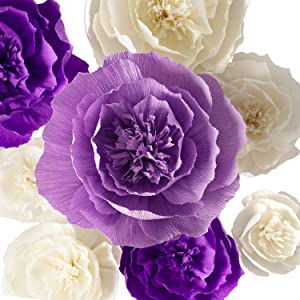 Paper Flower Decorations, Crepe Paper Flowers, Large Paper Flowers, Handcrafted Flowers, Giant Paper Flowers (Purple, Beige, Lavender, Set of 8 ) for Wedding Backdrop, Bridal Shower, Baby Shower