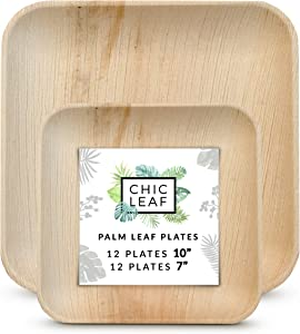 Chic Leaf Bamboo Style Palm Leaf Plates Set - Pack of 24 - Dinner Plates (12) & Salad Plates (12) - Disposable Biodegradable Dinnerware Compostable Eco Friendly Party Pack