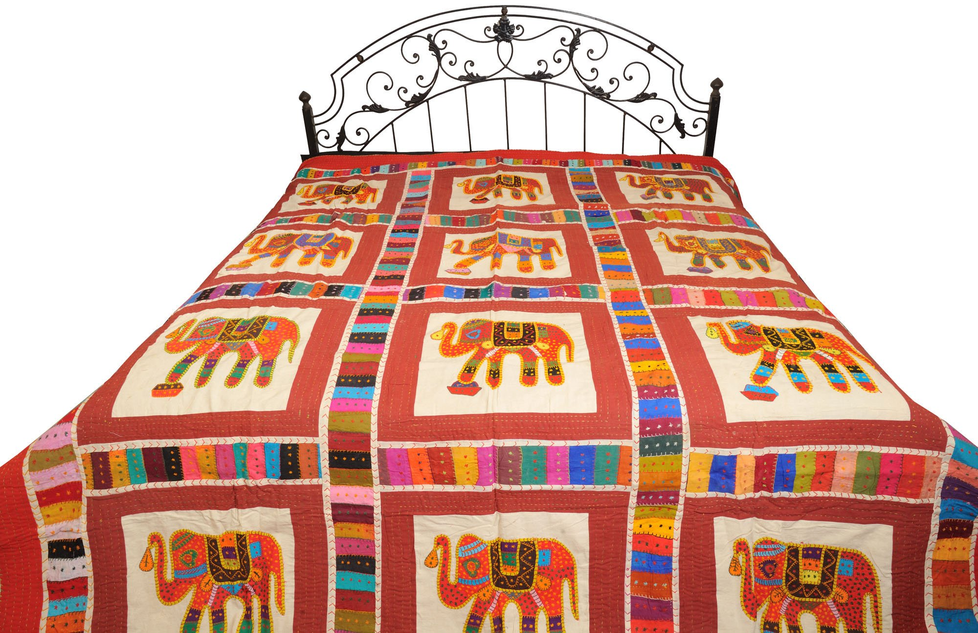 Multicolored Bedcover from Jodhpur with Applique Elephants and Kantha Stitch - Pure Cotton