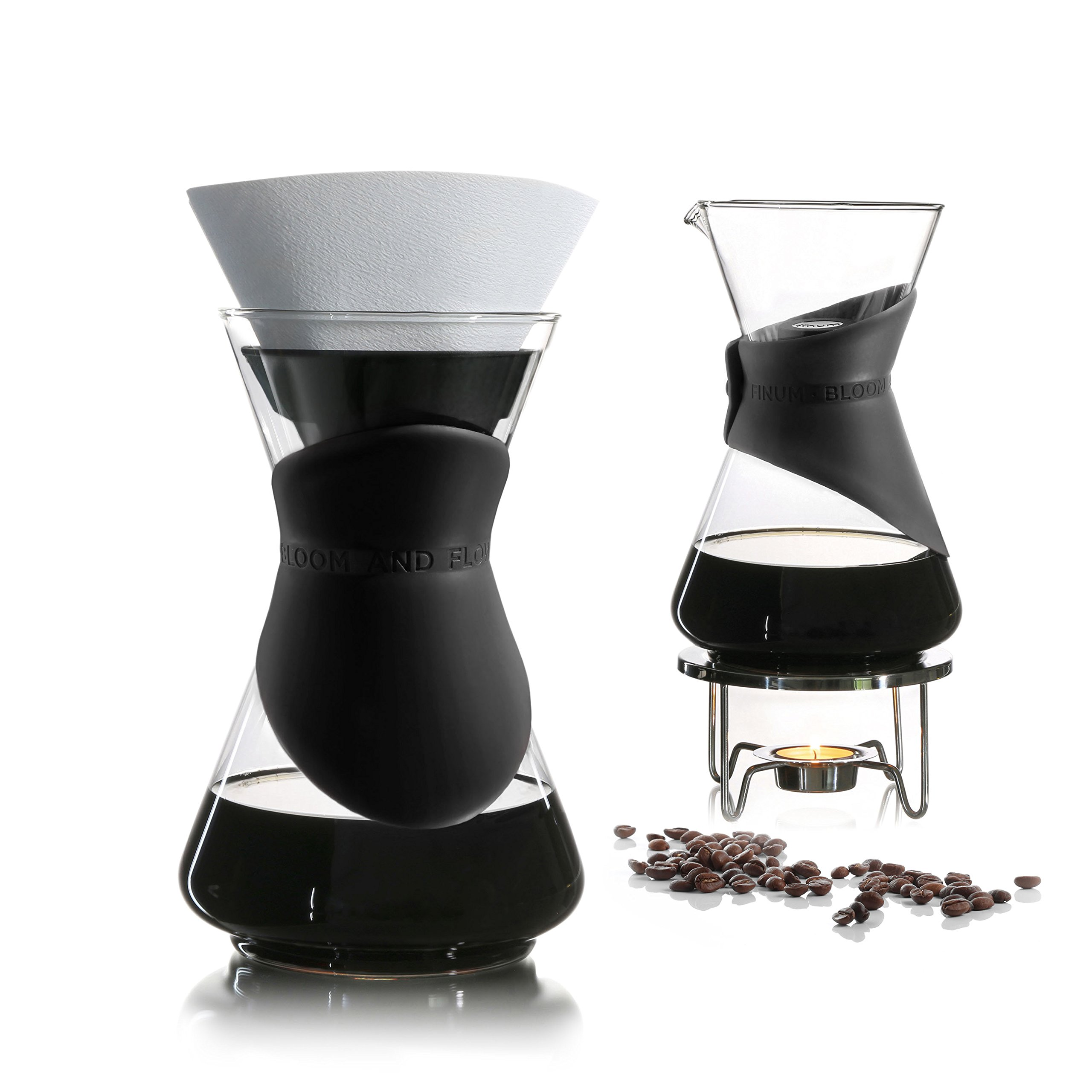 BLOOM AND FLOW- pour over coffee maker (4 Pieces, Black) by Finum