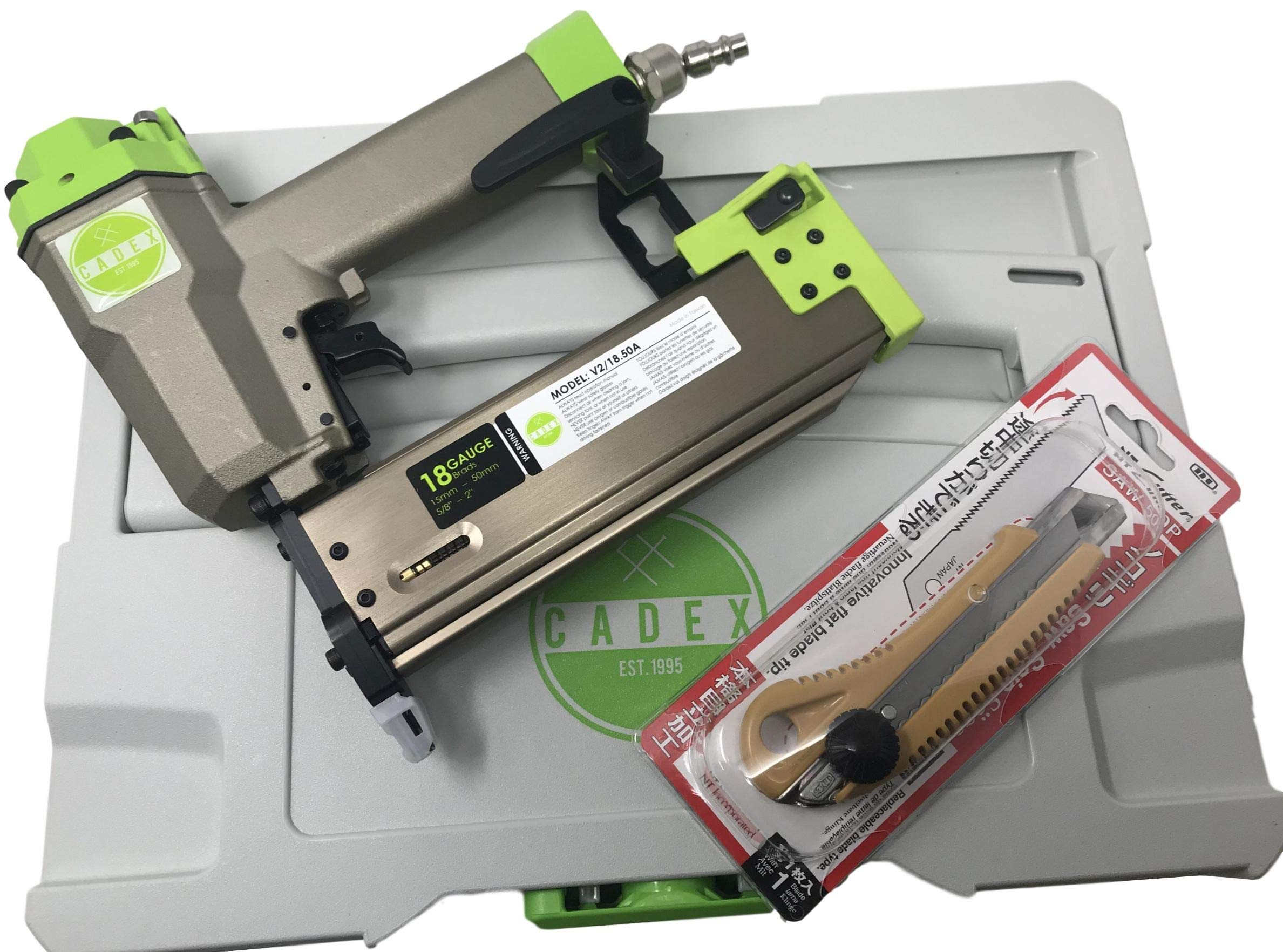 Cadex V2/18.50A 1/2″ - 2″ 18 Gauge Brad Nailer Kit With Reverse Contact Safety, And With Systainer Case & NT Cutter SAW-50P Retractable Saw