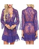 ADOME Women Robe Lingerie Lace V-Neck Sexy Long Sleeve Sleepwear Set See Through Kimono Nightgown Babydoll