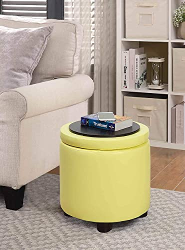 Convenience Concepts Designs4Comfort Round Accent Storage Ottoman, Yellow,
