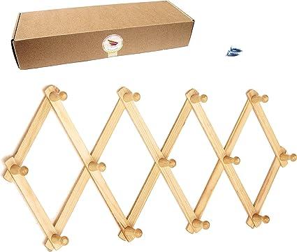 Amazon.com: Amapon - Perchero de madera con 13 ganchos para ...