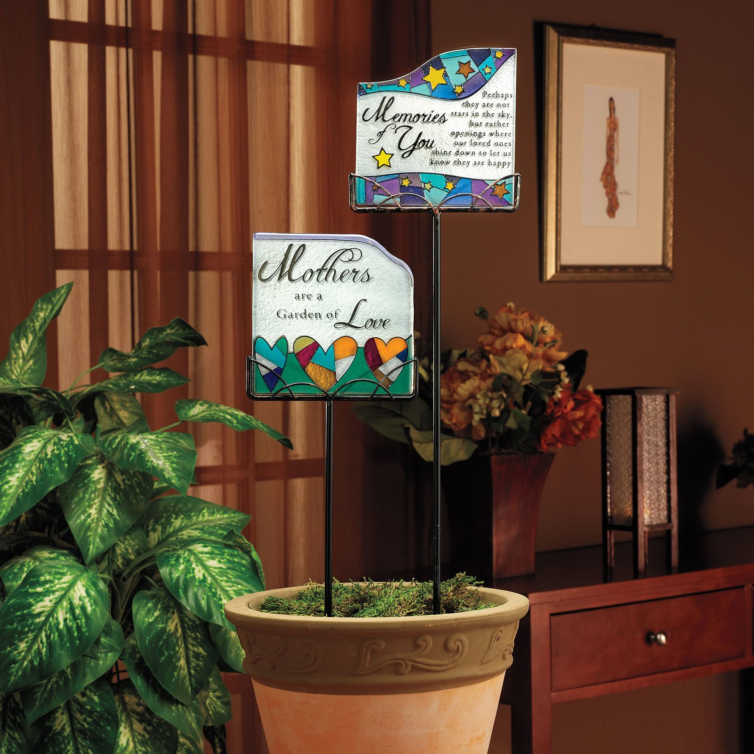 Shine on Me by Pavilion Glass Garden Marker 19-1//4-Inch Memories of You Sentiment