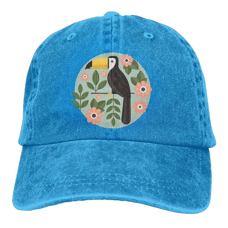 JTRVW Cowboy Hats 2018 Adult Fashion Cotton Denim Baseball Cap Floral Bird Toucan Classic Dad Hat Adjustable Plain Cap