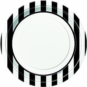 Black Striped Paper Plates 8ct  sc 1 st  Amazon.com & Amazon.com: Black Striped Paper Plates 8ct: Kitchen \u0026 Dining
