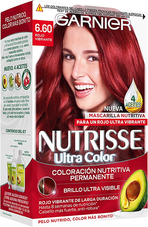 Garnier Nutrisse Creme Coloración permanente con mascarilla nutritiva de cuatro aceites - Rojo Vibrante 6.60