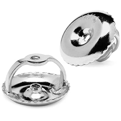 83139266e Two Earring Back Replacements |14K Solid White Gold | Threaded Screw on  Screw off |. Roll over image to zoom in. Everyday Elegance Jewelry