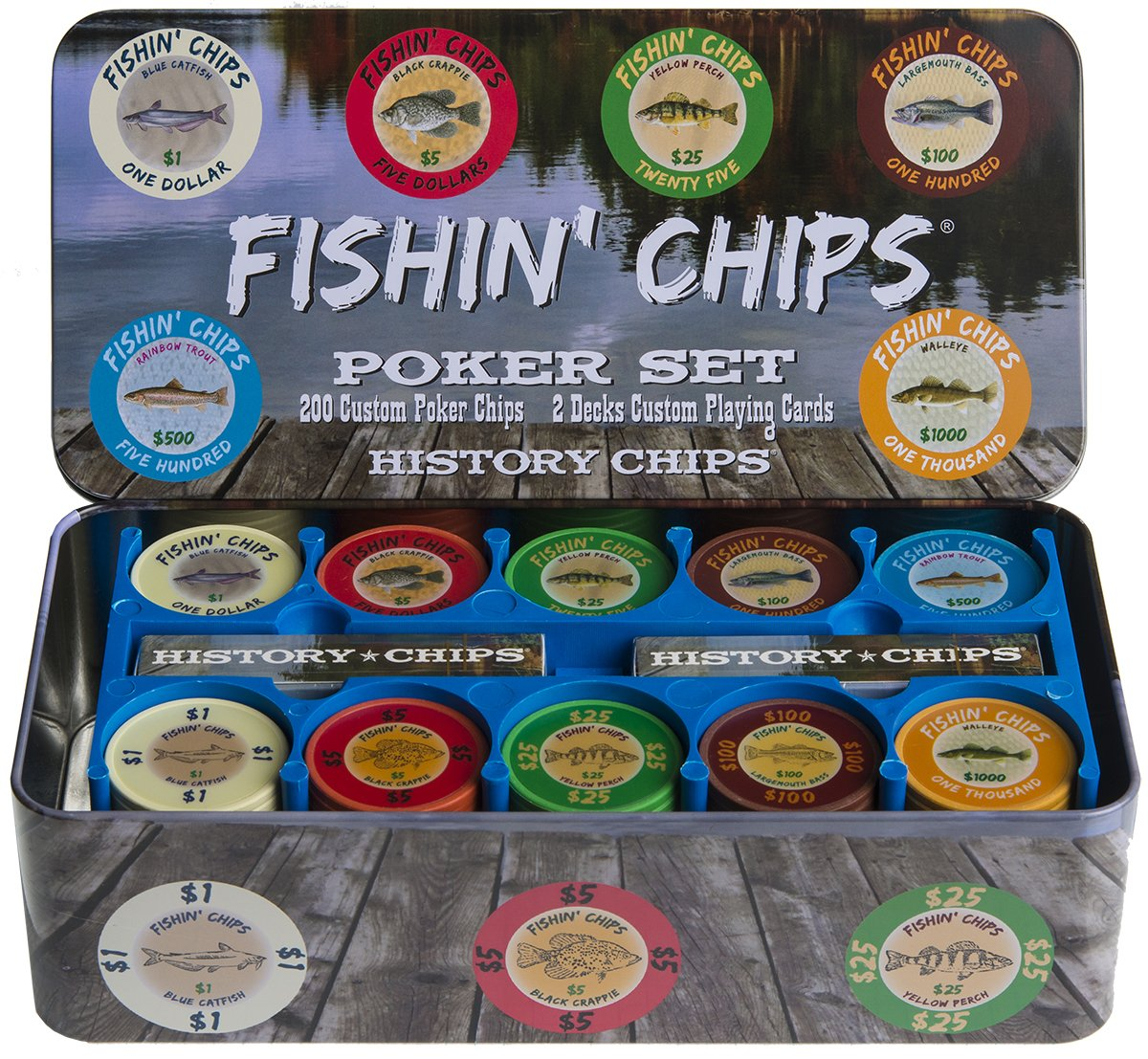 Fishin Fishin ' Chips Chips – 淡水 – プレミアム品質Poker Chips and and Playingカードセット B0172BY12C, 天童市:03552a42 --- itxassou.fr
