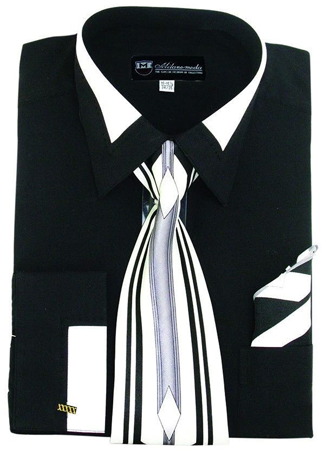 Black Dress Shirt With White Collar And Cuffs Bcd Tofu House
