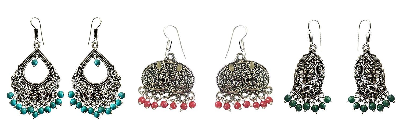 Style1 Jyesh Jewels Combo of 3 Dangle /& Drop Earrings set in German Silver Beaded Turkish Style
