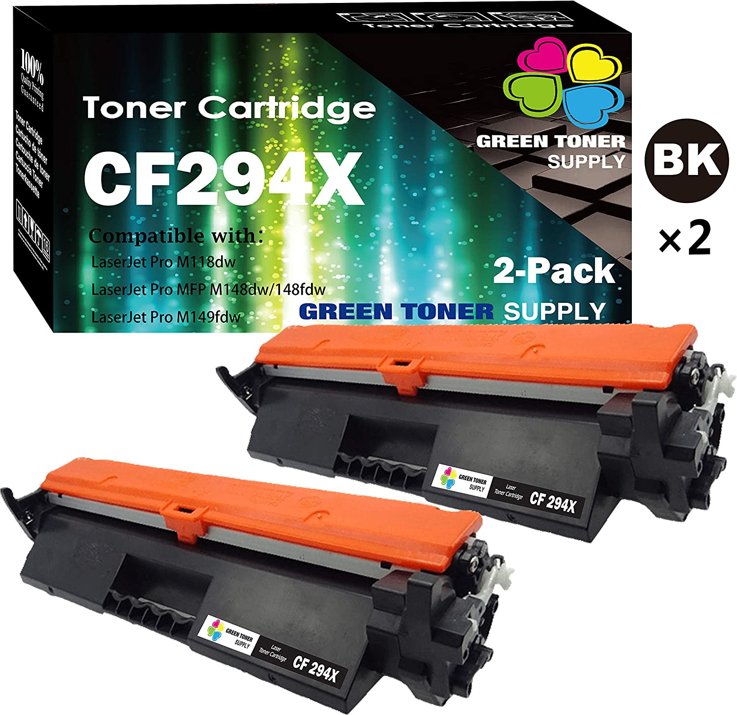 (2-Pack, Black, High Yield) GTS Compatible HP 94X 294X CF294X Toner Cartridge Used for HP Laserjet Pro M118dw M148dw M148fdw Laserjet M118 Laserjet M148 Series Printer