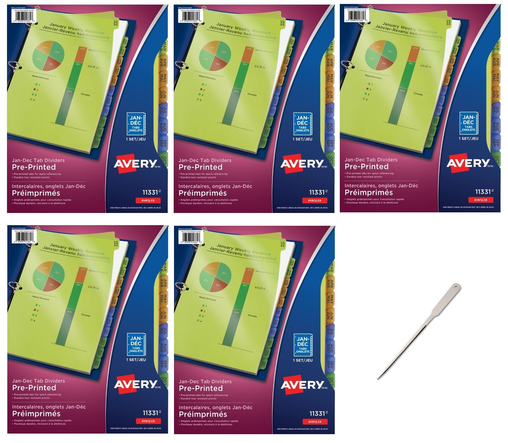 Avery Plastic Preprinted Tab Dividers Bundle, 8.5 x 11 inch, Jan-Dec Tab, Multi-Color Tab, 5 Packs (11331) - Bundle Includes a Letter Opener by Avery (Image #1)