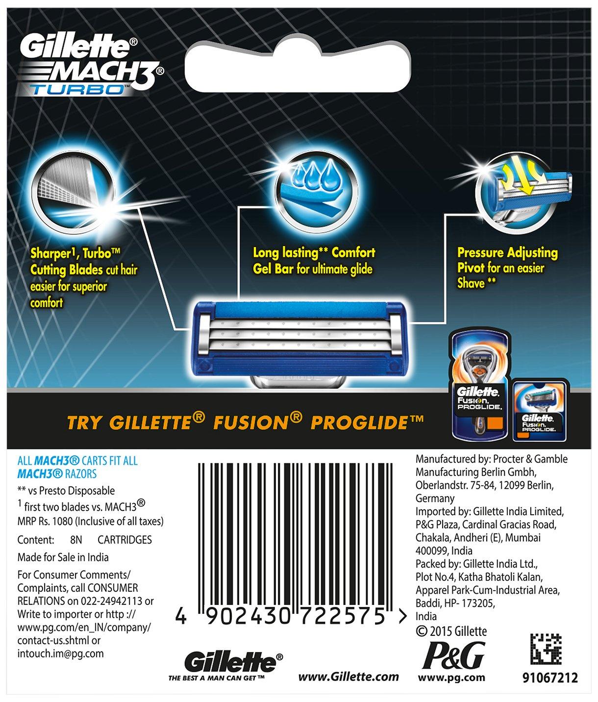 Gillette Mach 3 Turbo cartuchos de afeitado 8: Amazon.es: Salud y cuidado personal