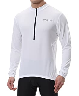 Spotti Men s Cycling Bike Jersey Long Sleeve with 3 Rear Pockets - Moisture  Wicking e68cd8fe7