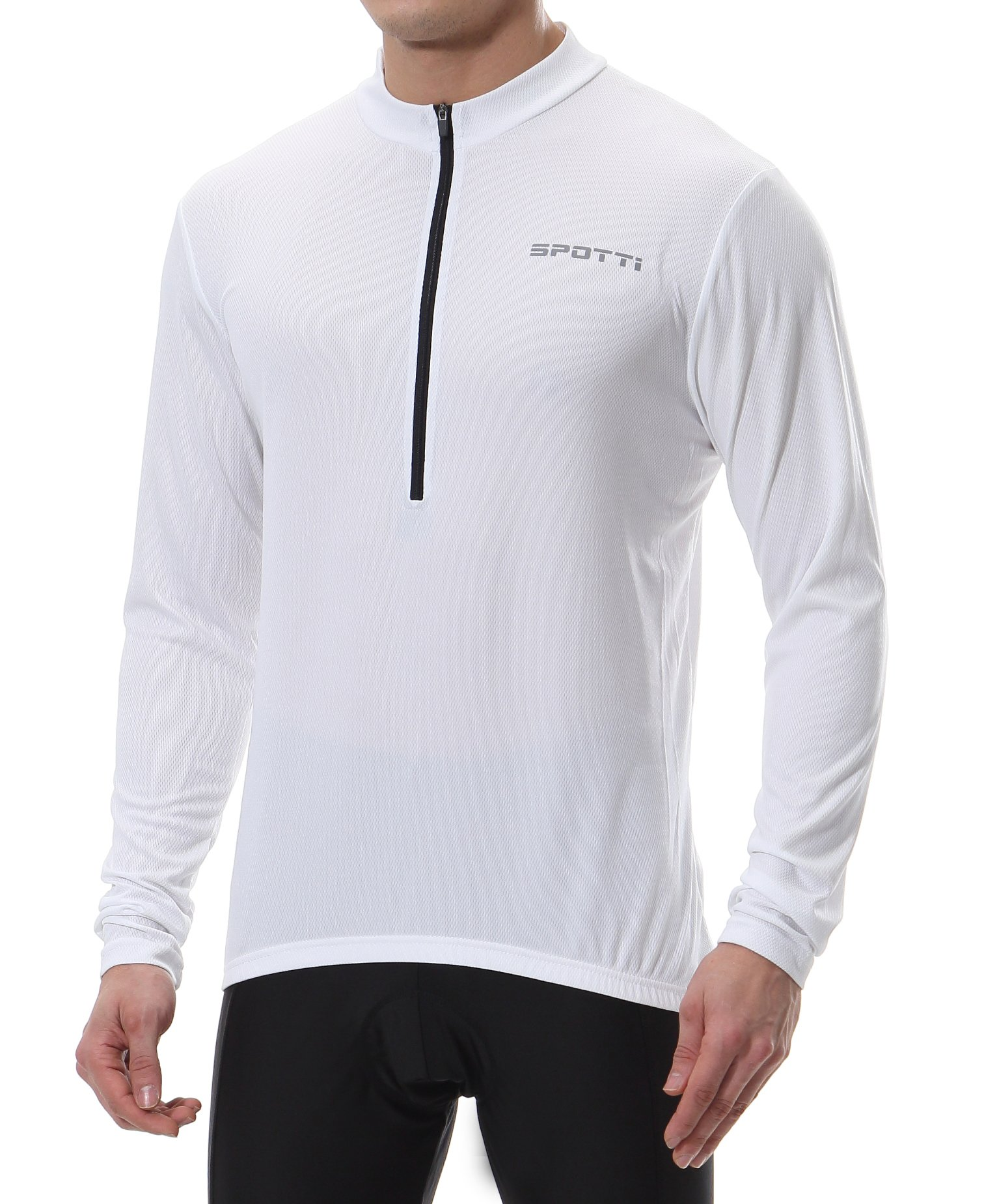 Spotti Men's Long Sleeve Cycling Jersey, Bike Biking Shirt- Breathable and Quick Dry (Chest 36-38 - Small, White)