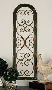 "Deco 79 55257 Wood Metal Wall Panel, 15"" x 48"""