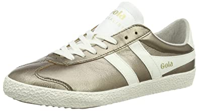 Best Selling Womens Gola Specialist Metallic Sneaker Gold/Off White Leather Womens Gold/Off White Leather Gola Womens Gola