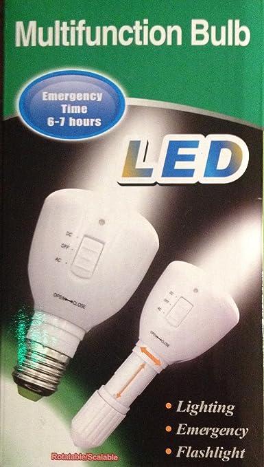 3in1 Ampoule LED E27 Lampe torche d'urgence Rechargeable