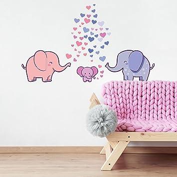 50 Teile Elefanten Familie Wandtattoo mit Baby Seifenblasen ...