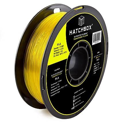 hatchbox 1,75 mm transparente de PLA amarilla de filamento para ...