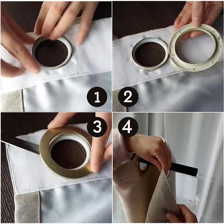 YINETTECH 25pcs Curtain Grommets Eyelet Slide Ring Set Plastic Round Shape Low Noise Blinds Drapery Window Shower Locker Room Door Backpack Bag Hole Brown