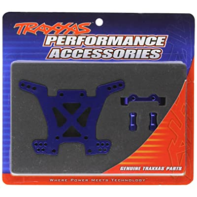 Traxxas 6838X Blue-Anodized 7075-T6 Aluminum Rear Shock Tower: Toys & Games